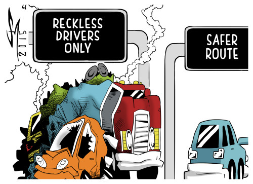 cartoon of two lanes of traffic. one lane is labeled Reckless Drivers only and shows a bad traffic accident. the second lane is is labeled safer route and show smooth traffic.