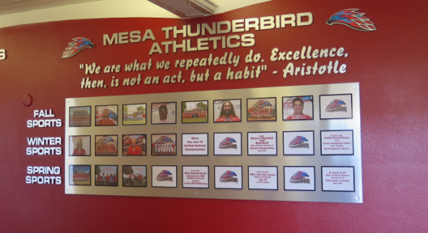 photo of wall with MCC's athletic awards & team photos