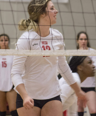 Mesa's outside hitter #12, Tamara Hunt, scouts an opposing team as timeout ends. Tania Ritko/ Mesa Legend