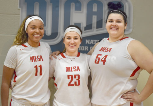 The three players from MCC from left to right: Quynne Huggins, Tori Lloyd and Allies Fuller. (Photo: Marcus Campbell / Mesa Legend)