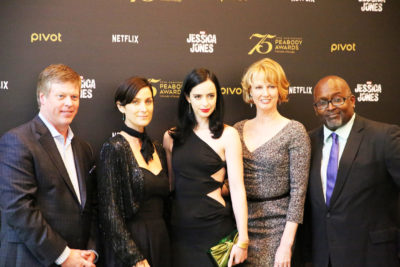 Jessica Jones Cast - Peabody Awards - Jana Lynn French - Melissa Rosenberg - Carrie-Anne Moss and Krysten Ritter