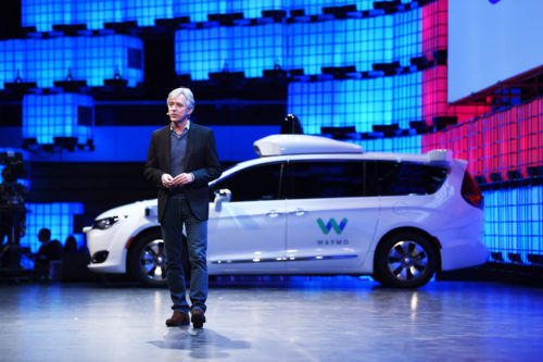 7 November 2017; John Krafcik, CEO, Waymo, on Centre Stage during the opening day of Web Summit 2017 at Altice Arena in Lisbon. Photo by Stephen McCarthy/Web Summit via Sportsfile